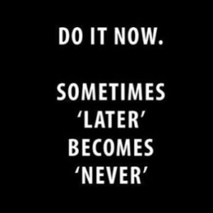 Do It Now - Sometimes Later Becomes Never