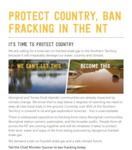 Ban Fracking In The NT